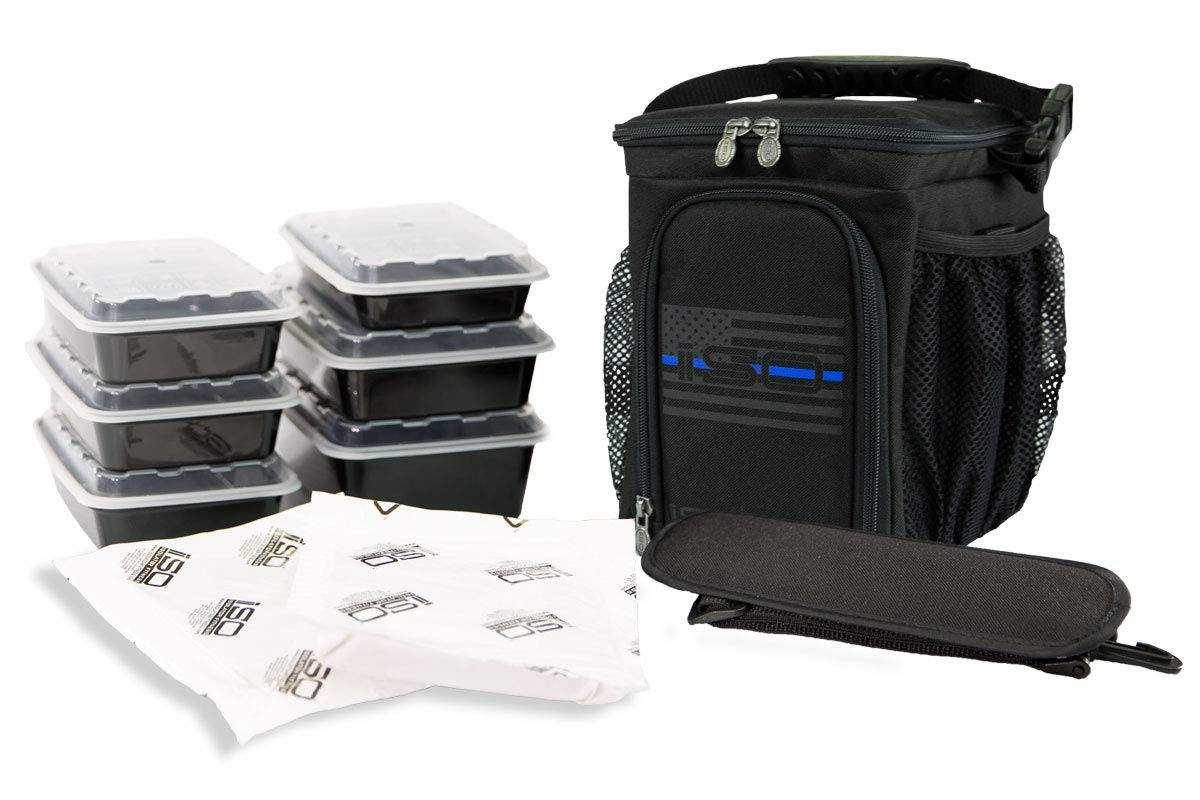 Isolator Fitness Thin Blue Line 3 Meal ISOCUBE Meal Prep Management  Insulated Lunch Bag Cooler with 6 Stackable Meal Prep Containers, 2  ISOBRICKS, ... 29873bd9d8