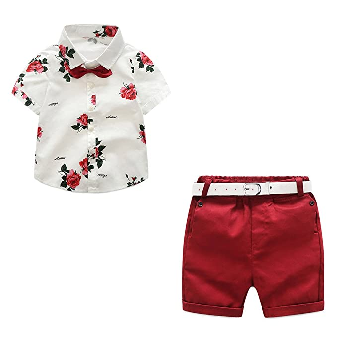 d6e75794cb53 Kids Baby Boys Summer Gentleman Bowtie Short Sleeve Floral Shirts + Shorts  Set 2 Piece Outfits