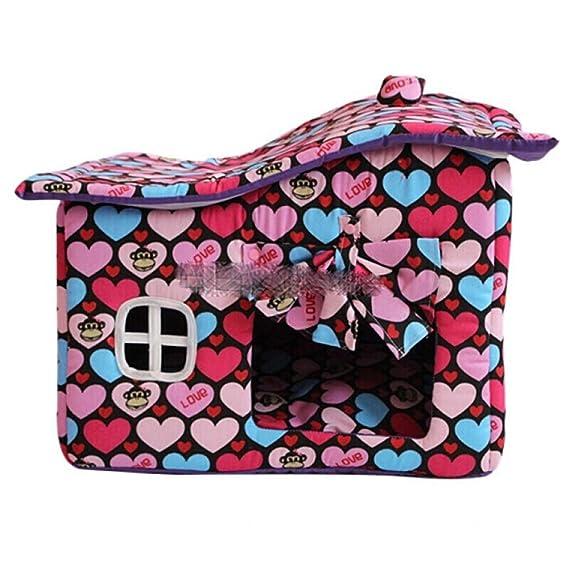 Byx- Pet Nest - con Cortinas Kennel Winter House Lavable Pet Dog House Teddy Kennel Dog House Cat Litter Cotton Nest Manta de Regalo -Mascotas Nido (Color ...