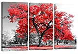 Canvas Wall Art Prints Red Tree in Black and White Background 3 Panels Large Size Landscape, Modern Pictures Framed Ready to Hang Painting Artwork for Living Room Bedroom Home Office Decor, 16''x32''x3