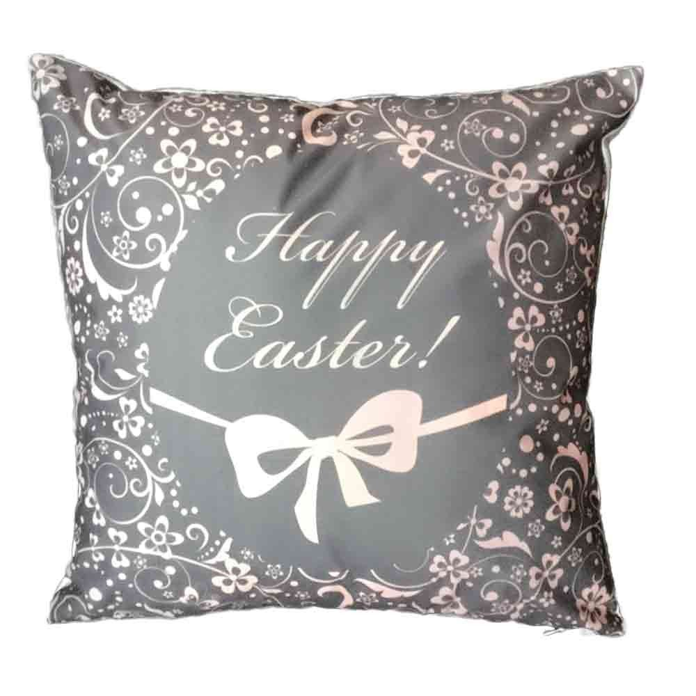 Pgojuni Easter Sofa Bed Home Decoration Festival Pillow Cover Easter Eggs Pillow Case Cushion Cover (B)