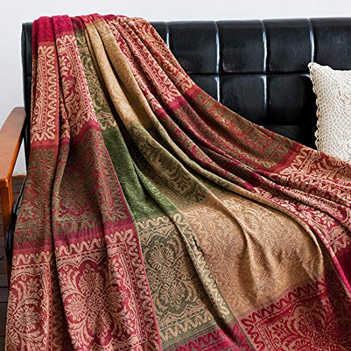 (Vonty Chenille Bohemian Throw Blanket with Tassels Decorative Tribal Throw Blankets for Sofa Couch, Bed, Table Cover (Red Plaid-1, 60