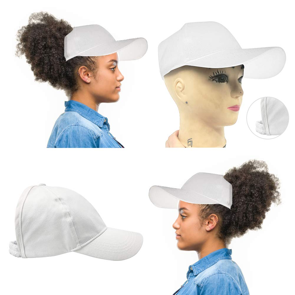 Ponytail Hat Baseball Hat for Women for Curly,Thick,Natural Hair,White