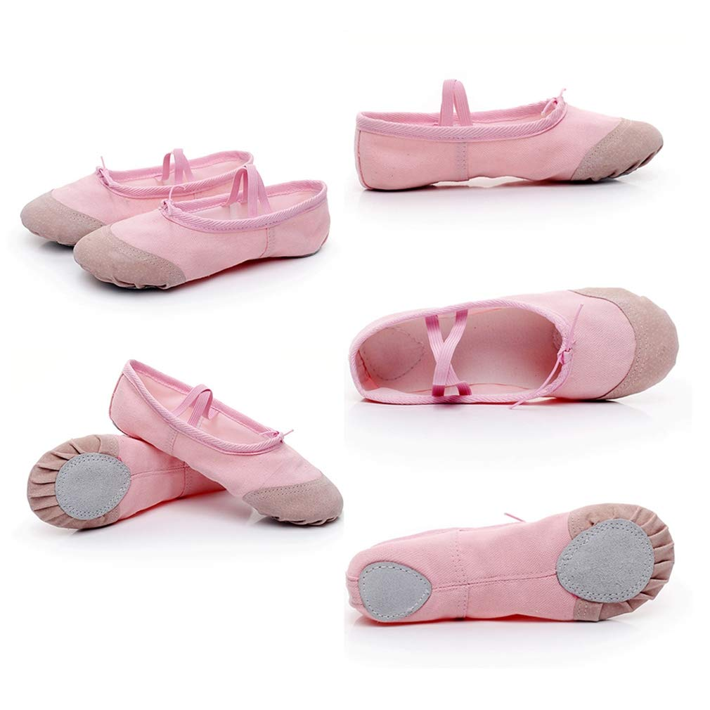 COMVIP Kids Women Canvas Classic Ballet Slippers Leather Sole Yoga Dancing Shoes