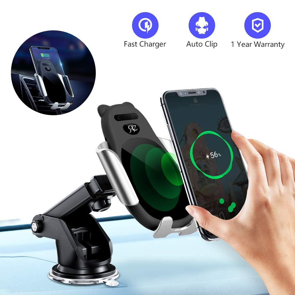 Wireless Car Charger, with USB-C Auto-Clamp 10W/7.5W Fast Charging Windshield Dashboard Air Vent Phone Holder for iPhone 11/11 Pro/11 Pro Max/Xs MAX/XS/XR/X/8/8+, Samsung S10/S10+/S9/S9+/S8/Note 10+ by Re