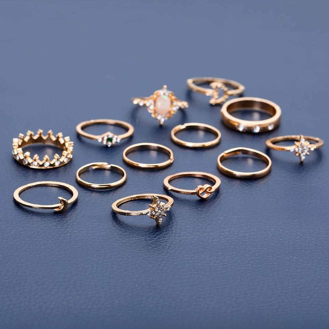 Edary Boho Lot de 13 bagues de phalange en forme d/étoile en cristal pour femme et fille
