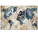 Bangle009 The Latest 3Pcs/Set World Map Wall Art Paintings No Frame Home Living Room Decoration Gift