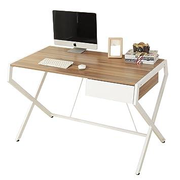 home office writing desks. Soges Wooden Computer Desk 120cm Home Office Study Writing With Drawer, Teak\u0026White Desks