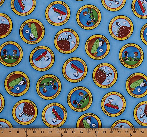 Cotton Peanuts Comic Characters Snoopy Camping Woodstock Marcie Peppermint Patty Activities Camp Circles Kids Blue Cotton Fabric Print by The Yard (1649-22612-B) -