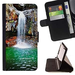 - Waterfall Spring - - Prima caja de la PU billetera de cuero con ranuras para tarjetas, efectivo desmontable correa para l Funny HouseFOR Samsung Galaxy S3 III I9300