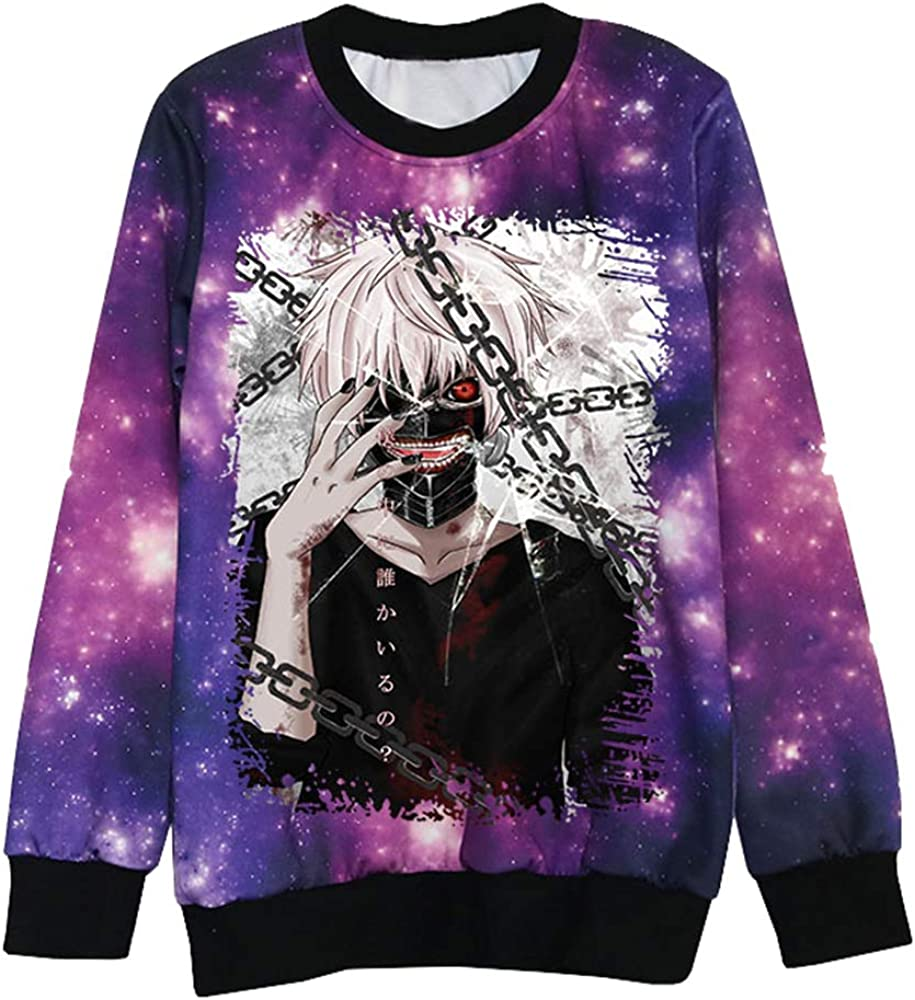 Tokyo Ghoul Pullover Round Neck Casual Sweater Stylish Blouses Comfortable Pullover Sports Sweatshirts
