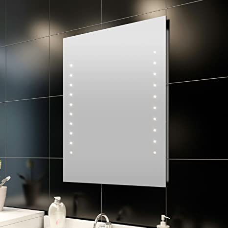 Specchio Da Bagno Con Luci Led.Specchio Da Bagno Verticale Con Luci Led 60cm X 50cm Amazon It