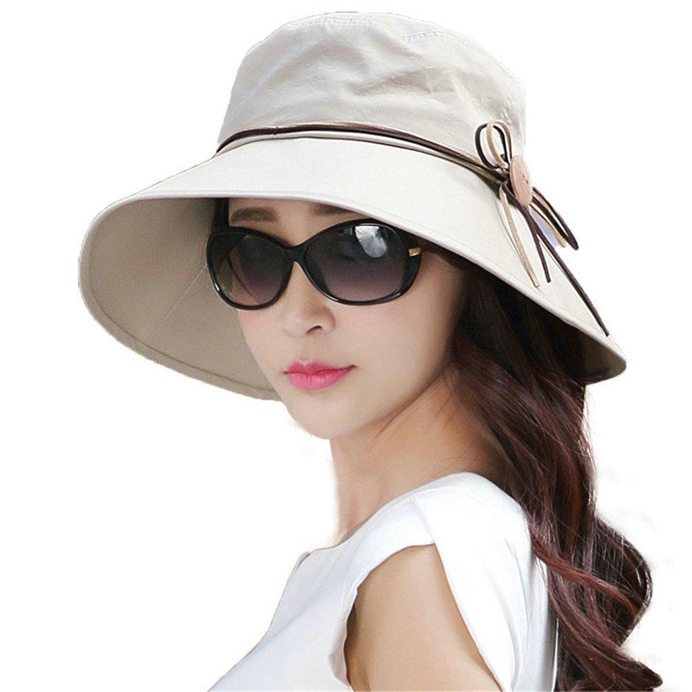 SIGGI NOT Foldable Bucket Cord Sun Summer Beach Hat with Wide Brim for Women UPF50+ Khaki