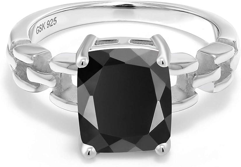 925 Sterling Silver Exclusive Black Onyx Stone Ring Fashion Jewelry-SJR41-PAR
