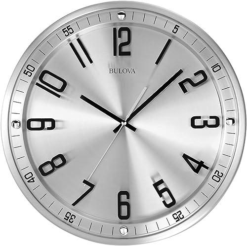Bulova C4646 Silhouette Wall Clock, Silver