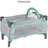 Adora Baby Doll Crib Zig Zag Deluxe Pack N Play, Fits Dolls up to 20 inches, Bed/Playpen/Crib, Changing Table, Mobile with 3