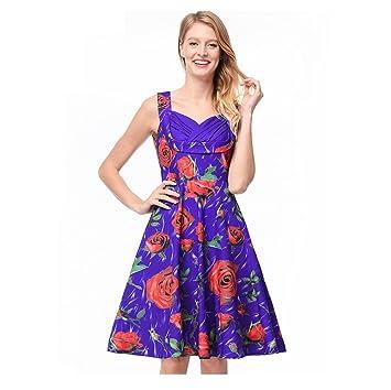 FXFAN Vestido de Tubo con Estampado de Rosas Vestido de Cintura con Estampado de Rosas 2018