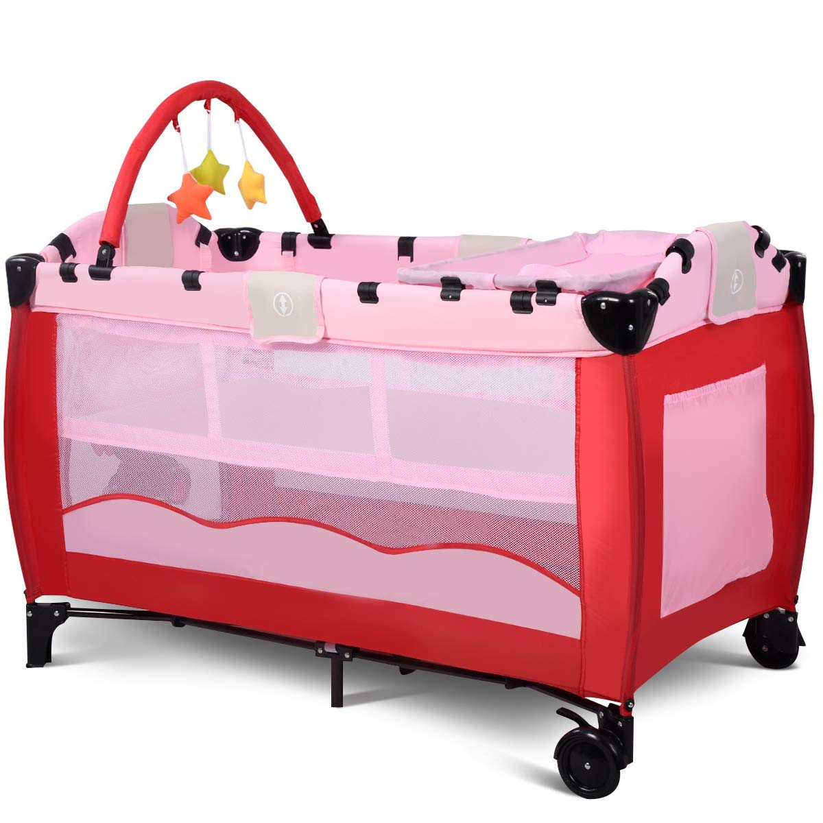 Giantex portable baby crib playpen pack travel infant bassinet bed pink