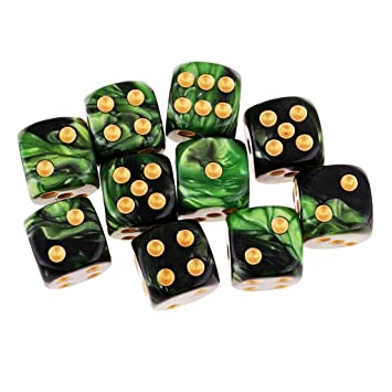 B Blesiya D6 Dados de 6 Caras para Juegos de Mesa Table Games Party (10 Piezas) - Verde + Negro: Amazon.es: Juguetes y juegos