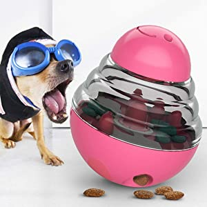 EXTREMEWORLD Tumbler Automatic Pet Slow Feeder Treat Ball Food Dispensing Dog Toy,Red