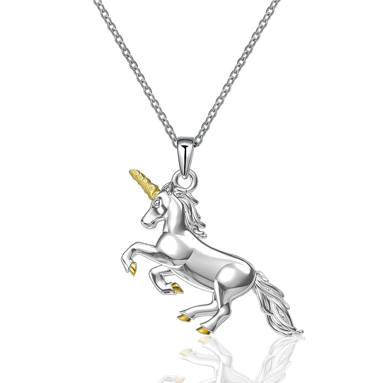 MONBO Silver Unicorn Necklace Gift 925 Sterling Silver Fairytale Unicorn Pendant Necklace for Women, Girls (Unicorn #B)