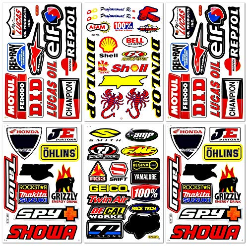 Motorcycles Pro Motocross Dirt Bike Supercross MotoGP ATV Helmet Racing Lot 6 Vinyl Graphic Stickers Decals D6204 Best4Buy ()