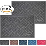 Premium Cat Litter Mat Trapper, Traps Litter from Box and Paws, Scatter Control for Litter Box, Soft on Sensitive Kitty Paws, Easy to Clean, Durable - Set of 2, Standard Grey
