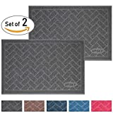 Premium Cat Litter Mat Trapper - Traps Litter from Box and Paws - Scatter Control for Litter Box - Soft on Sensitive Kitty Paws - Easy to Clean - Durable - Set of 2 - Standard Grey