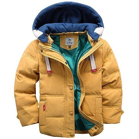 Kinder Daunenjacke mit Kapuze Jungen Mädchen Steppjacke Wintermantel Wattierte Gepolsterte Jacke