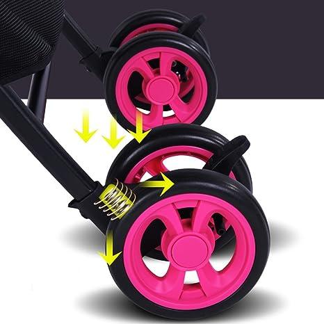 ZXLDP Sillas de Paseo Cochecito Transpirable del Verano/Puede Sentarse o mentir levemente el Carro Multi-Funcional Plegable del bebé Carritos (Color : Rosa ...