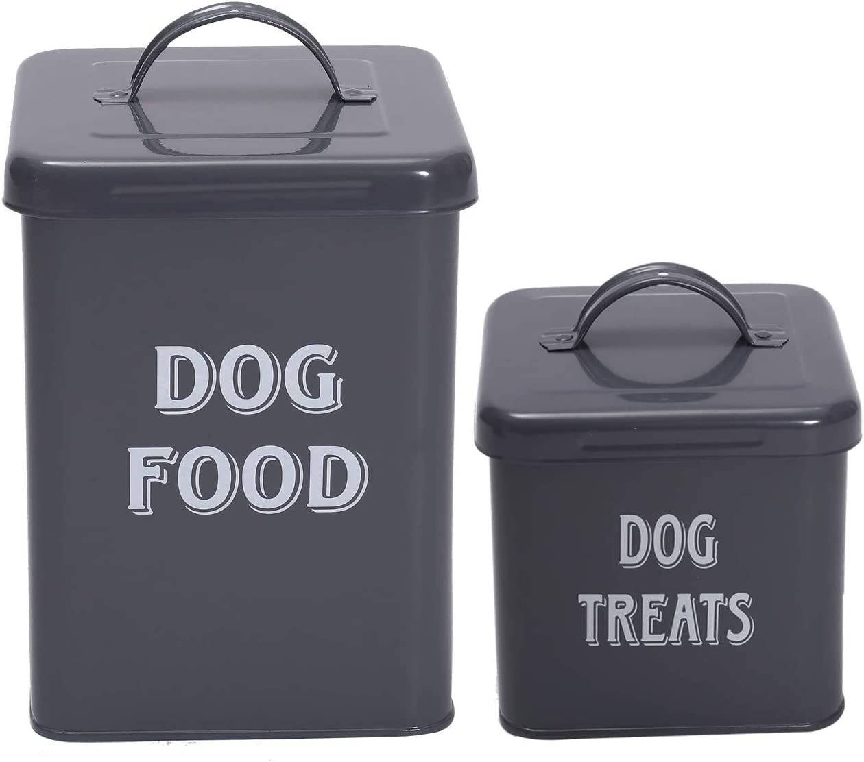 Pethiy Dog Food and Treats Containers Set with Scoop for Dogs-Vintage White Powder-Coated Carbon Steel - Tight Fitting Lids - Storage Canister Tins Small-Gray