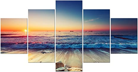 Amazon Com Pyradecor 5 Piece Large Modern Seascape Artwork Gallery Wrapped Ocean Sea Beach Pictures Canvas Prints Waves Paintings On Canvas Wall Art For Living Room Bedroom Home Decorations L Posters Prints