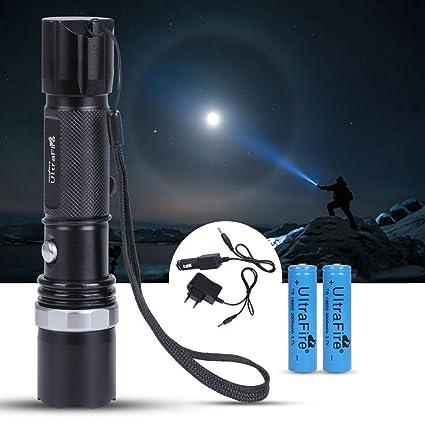 GHB Linterna LED SWAT CREE Faroles de Mano Linternas llavero 5000LM XM-L T6 Zoomable Flashlight Luz Recargables