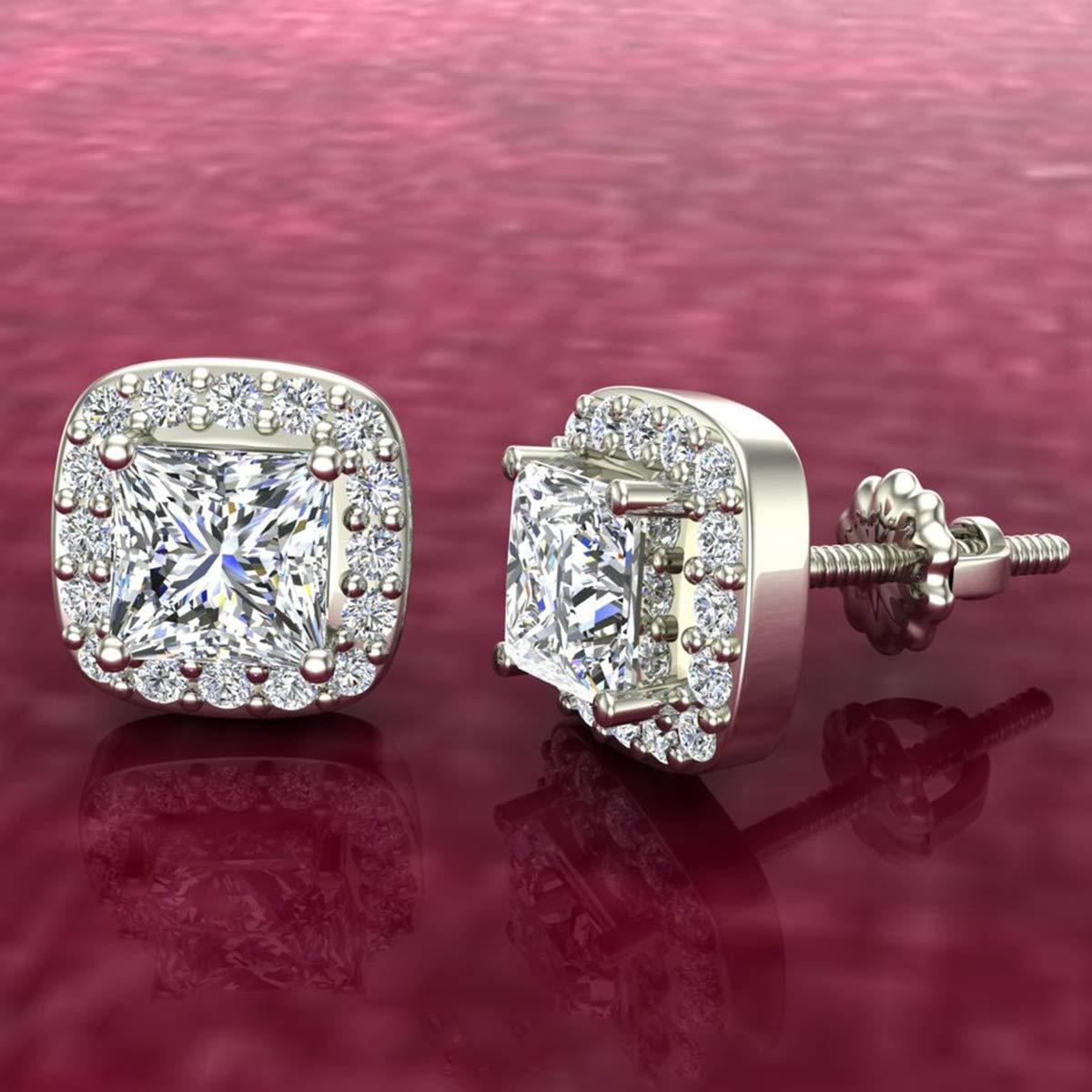 1.30 Ct Princess cut Cushion Style Halo Simulated Diamond Stud Earrings 14K White Gold Over