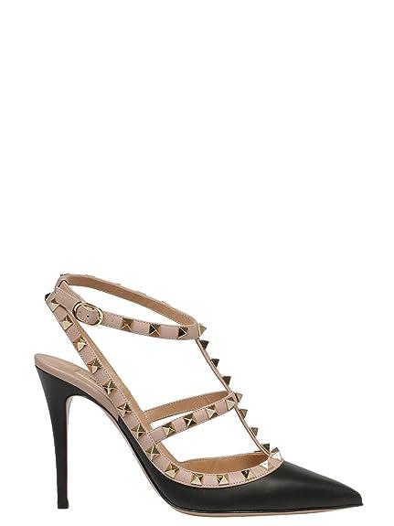 cbb11be8e90f2 VALENTINO GARAVANI Women's RW2S0393VODN91 Black Leather Sandals ...