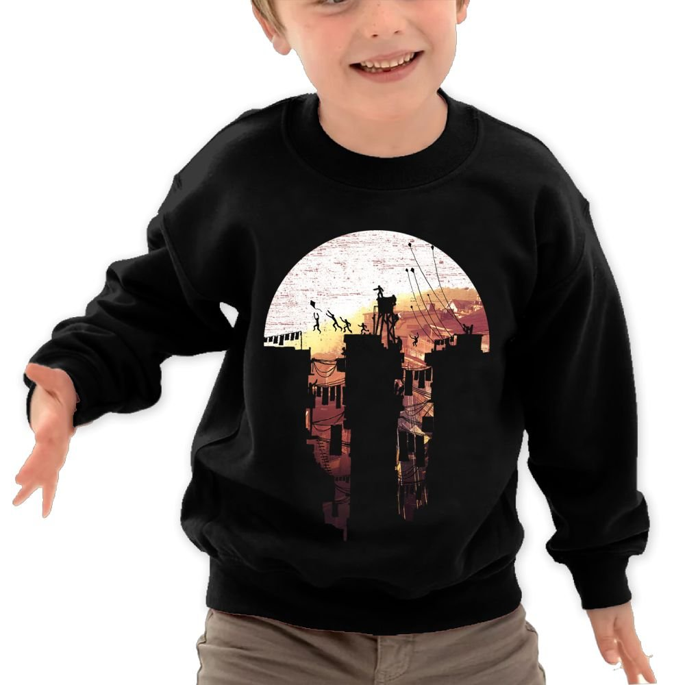 Anutknow Brown View Paper-Cut Silhouette Childrens Round Neck Soft Hoodies Sweatshirt