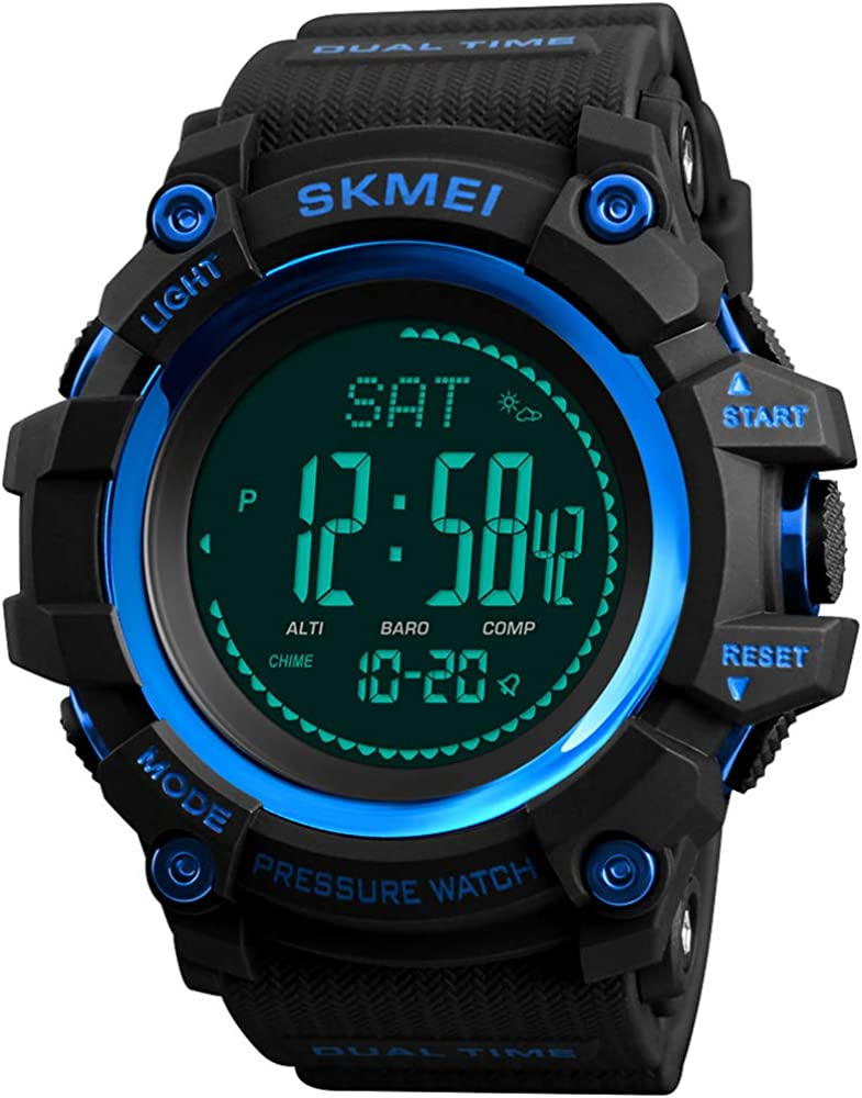 Mens Outdoor Sports Army Watches Pedometer Calories Digital Watch Altimeter Barometer Compass Thermometer Weather Men Watch