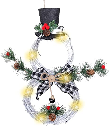 Trraple Christmas Wreath With Lights Front Door Hanging Wreath Snowman Led Garland With Hat Bow Knot For Indoor Outdoor Holiday Decoration Home Kitchen