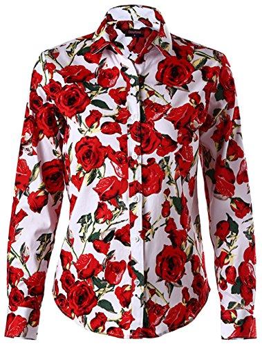 Dioufond Women Floral Print Button Down Shirts Long Sleeve Shirt Blouse