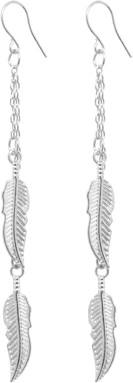 2LIVEfor - Pendientes largos de pluma, pendientes de plata y oro, pendientes largos y colgantes de estilo antiguo, con forma de gota, con plumas étnicas en cadenas