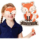 Woodland Creatures - Pin the Tail on the Fox Party Game - Baby Shower or Birthday Party Game - 1 Mask and 20 Tails