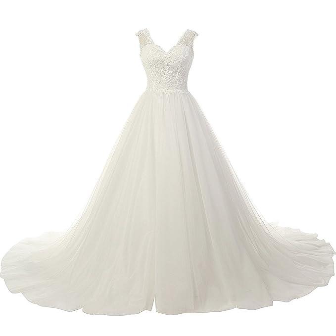 JAEDEN Mujer Cuello en V Tul Vestidos de Novia Largo Applique Vestido de Boda Blanco EUR32
