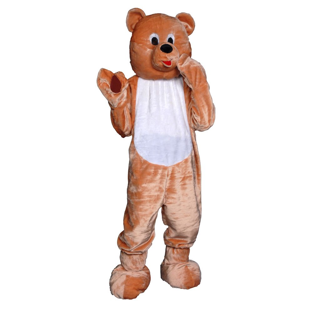 Dress Up America Teddy Bear Mascot, Light Brown, One Size - Adult