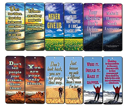 Inspirational Bookmark - Creanoso Success Inspirational Quotes Bookmarks (60-Pack)- Never Give Up Cards Bookmarker - Positive Wisdom Motivational Sayings Gifts for Men Women Adults Teens Kids Boys Girls Entrepreneur Office