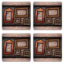 MSD Natural Rubber Square Coasters IMAGE 24659462 vintage room interior backdrop with ancient empty wood frames ready design