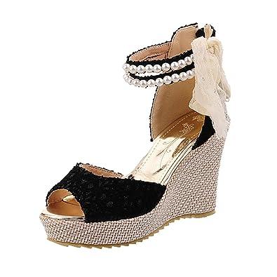 UH Damen High Heels Keilabsatz Sandalen Plateau Keilsandalen mit Riemchen Schleife Perlen Schuhe