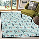Anchor, Bath Mats for Floors, Summer Holiday Adventure Horizontal Striped Backdrop with Icons Bon Voyage, Bath Mat for tub Bathroom Mat 6x9 Ft Seafoam Blue Coral