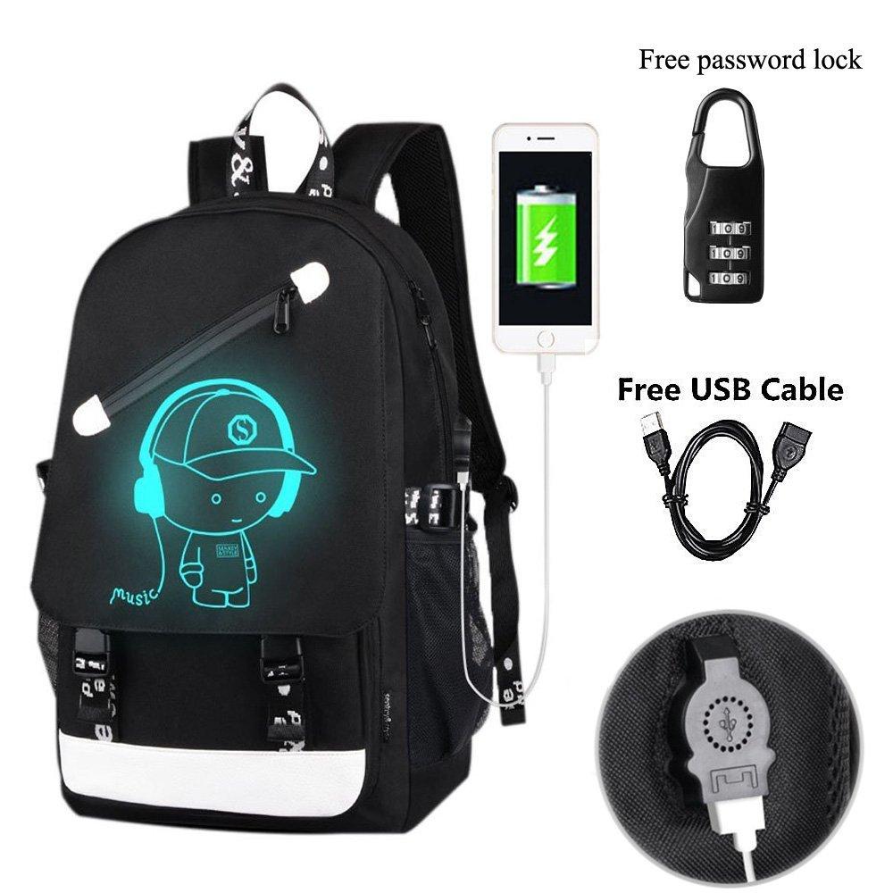 YYCB Anime Luminous Backpack Noctilucent School Bags Daypack USB chargeing port Laptop Bag Handbag For Girls Boys Men Women Black