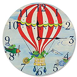 Stupell Home Décor Red Stripe Hot Air Balloon Wall Clock, 12 x 0.4 x 12, Proudly Made in USA