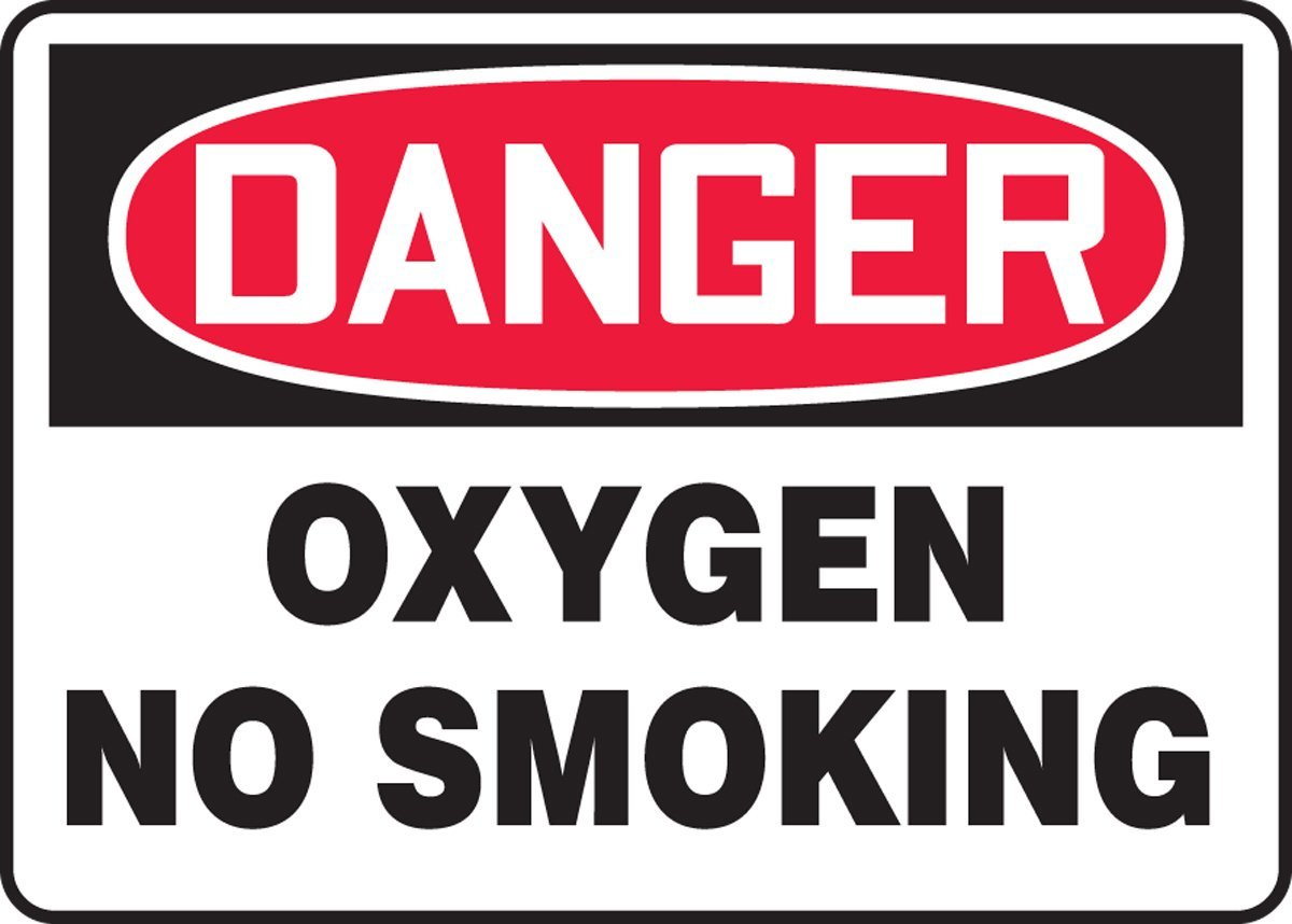 10 Length x 14 Width x 0.055 Thickness Red//Black on White Accuform MCHL073VP Plastic Safety Sign LegendDANGER OXYGEN NO SMOKING